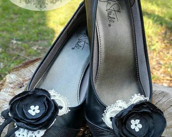 SALE!!! Black and Lace Flower Shoe Clips