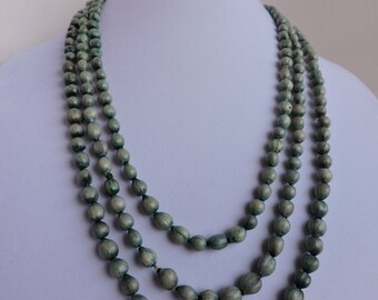 Natural Seed Long Necklace | Hand Made Beaded Jewelry | Green Beads | GreenTreeBoutique