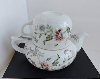 Andrea by Sadek Floral Teapot & Cup | Ceramic Tea for One | Kitchen Shelf Collectible Decor | GreenTreeBoutique
