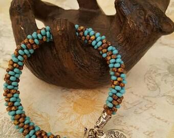 Southwest Turquoise Kumihimo Beaded Bracelet