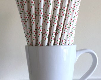 Christmas Paper Straws Red and Green Dots Paper Straws Party Supplies Christmas Holiday Decor Bar Cart Cake Pop Sticks Mason Jar Straws