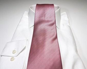 Dusty Rose Pink Tonal Stripe Solid Tie