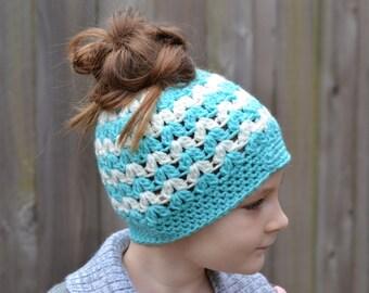 Crocheted V Stitch Messy Bun Hat Ready to Ship