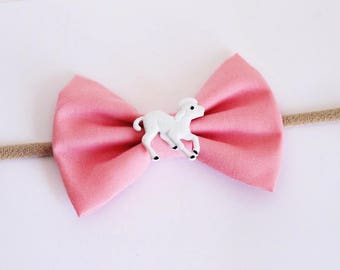 Adorable Pink Fabric Easter Lamb Accent Bow