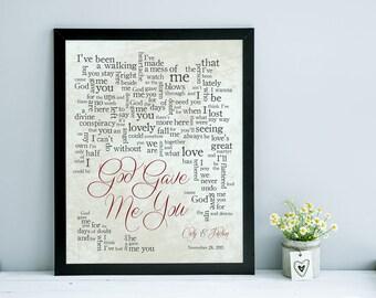 1st Anniversary, Wedding song lyrics, Wedding song print, Anniversary Gift, Wedding Gift- God Made Me You Blake Shelton-Made to Order