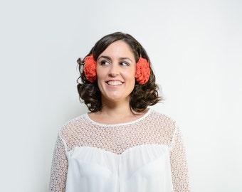 Rory - Faux fur ear muffs, orange faux fur ear warmers, orange earmuffs, winter accessory, fur headpiece, christmas gift, gift ideas for her