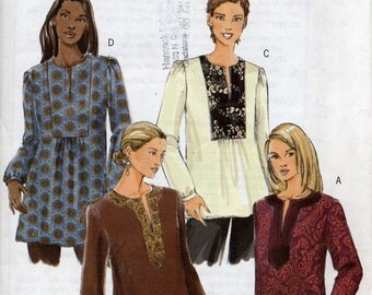 Loose-fitting yoked tunic pattern, Misses Extra Small to Medium, Butterick Fast & Easy B4856