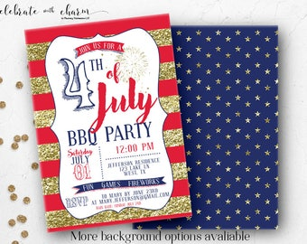 Fourth of July - Stars and Stripes - 4th of July - BBQ - Pool Party - Glitter - Digital Invitation - Printable Invitation