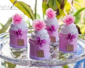 Baby Girl Mini Diaper Cakes, It's a Girl, Baby Shower Favors, Baby Girl, Diaper Cake, Centerpiece, Baby Shower Gift