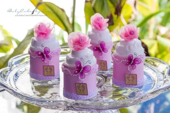 4 Baby Girl Mini Diaper Cupcakes - It's a Girl - Baby Shower Favors - Baby Girl - Baby Shower Gift - Diaper Cupcakes - Baby Shower Decor