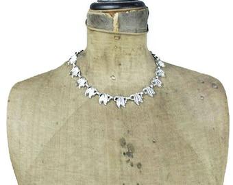 Vintage Silver Necklace, Silver Leaf Necklace, Silver Link Necklace, Silver Collar Necklace, Silver Choker Necklace
