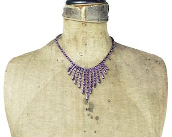 Purple Rhinestone Necklace, Purple Rhinestone Fringe Necklace, Vintage Rhinestone Necklace