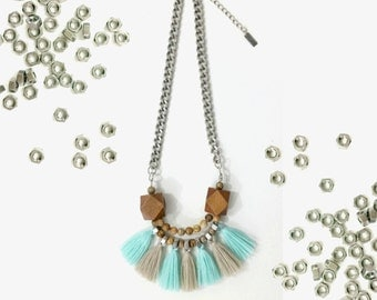 Turquoise fringe necklace, minth necklace, tribal beige necklace, tassels necklace, grey turquoise necklace.