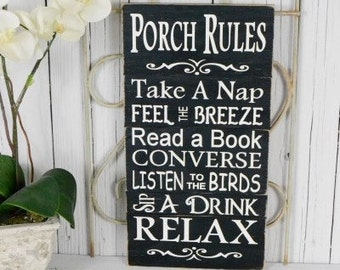 READY TO SHIP~~~ Porch Rules, Front Porch Sign, Back Door Sign, 9.5x18  Solid Wood Slat Sign, Choose your color