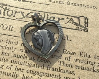 Vintage Religious Medal . Antique Holy Virgin Mary of Lourdes Vintage Medal . Heart Shaped Pendant . Prayer Charm .