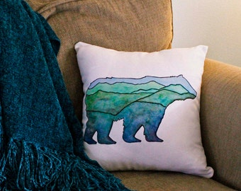 Bear throw pillow, Mountain bear decorative pillow, Rustic bear home decor, green, blue, black, 16x16 pillow, painted bear pillow
