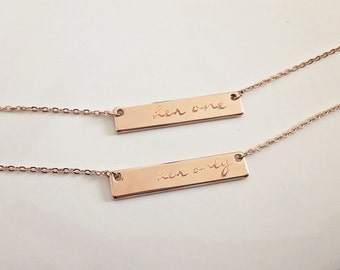 Her One Her Only, Rose Gold Bar Necklace Set, Lesbian Necklace Set, Personalized Bar Necklace, Valentines Day Anniversary