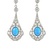 Vibrant Blue Opal and CZ Diamond Drop Earrings based on an Antique Victorian Design.