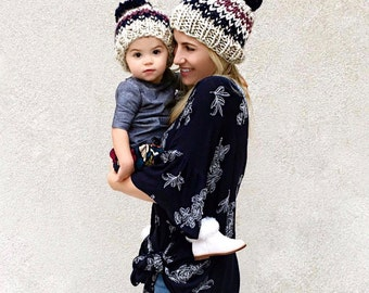 Mother Daughter Set, Mom and Me Hats, Knitted Hat Set Gift
