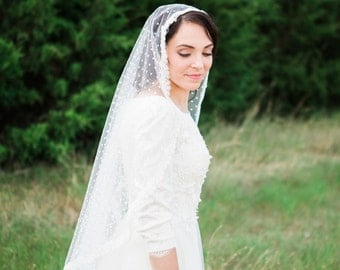 Fingertip Length Polka Dot Lace Tulle Cathedral Mantilla Bridal Wedding Veil with Comb