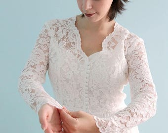Long Sleeve Lace Bridal Bolero , Ivory white Shrug , Ivory lace Wedding Jacket, Rose lace V neck bridal Top