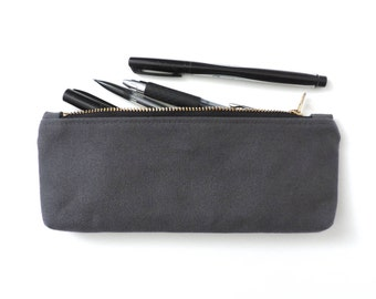 Canvas Pencil Case Zipper Pencil Pouch Grey