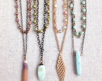 Layered Necklace. Layered Jewelry. Multi strand necklace. Double strand necklace. Layered necklaces.