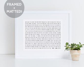 Custom Framed Song Lyrics - Wedding Song Lyric Art - Personalized Song Lyrics - Custom Print - First Anniversary Gift - Gift Idea
