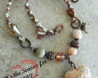 Tattered Rose Heart Charm and Sari Ribbon Necklace