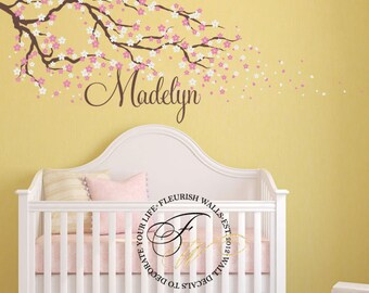 Cherry Blossom Wall Decal - Name Wall Decal - Tree Wall Decal With Flowers - Baby Girl Nursery Name Decal - Personalized Wall Decal GN067