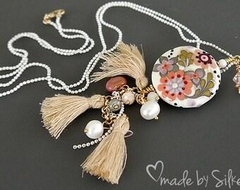 Lampwork bead  necklace  |  made by silke  |  Ibiza Style  |  Boho  |  art glass  |   floral  |  SRA  | OOAK