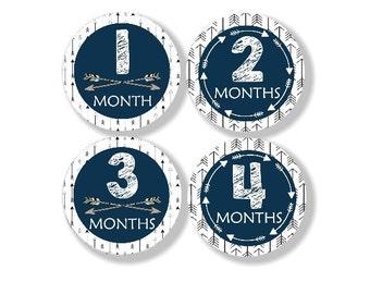 Baby Milestone Stickers, Baby Monthly Sticker, 12 Growth Stickers, Month to Month Stickers, Tribal Arrow