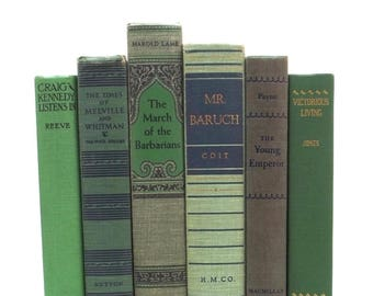 Green decorative books, shades of green books, green book collection, book set, book decor, wedding decor, old books, books for decorating,
