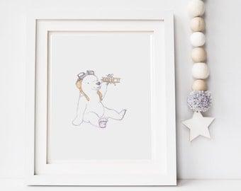 Nursery decor, childrens decor, nursery art, print for baby's room, polar bear illustration, baby shower gift, personalised baby boy art