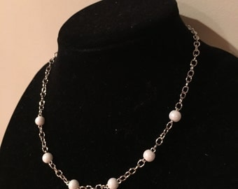 Necklace. White Glass Beads. Silver Chain. Extension Included.