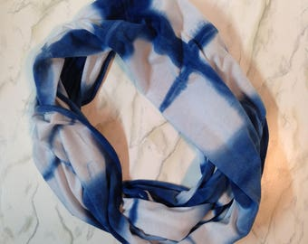 Blue and white circle scarf, indigo dyed jersey scarf, hand dyed infinity scarf, cotton scarf, shibori