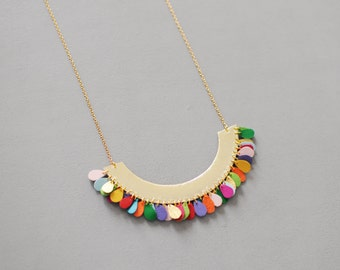 Handmade half circle necklace in gold leather and multicoloured petals
