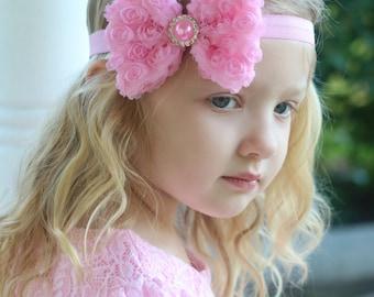 Pink Bow Headband, Pink Rosette Bow Headband, Pink Flower Girl Headband, Pink Headband, Pink Hair Bow, Pink Bow Headband, Pink Halo Headband