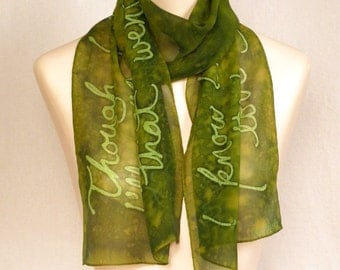 """Beatles """"In My Life"""" - Hand Painted Silk Chiffon Scarf in Mottled Olive/Lime Green"""