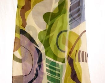 Hand Painted Silk Chiffon Scarf - Floating shapes in greens, golds, rust and purples