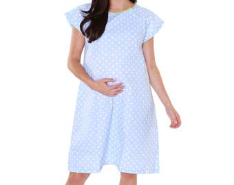 Labor & Delivery Maternity Hospital Gown Baby Be Mine Gownie Blue Dotted