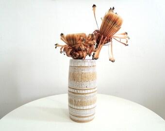 White and tan striped speckled stoneware vase, ceramic vase