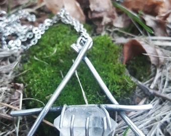 The Wind's Claws / AIR / Elemental Air silver and Quartz pendant / Herkimer Diamond / Neroli Handmade Esoteric Jewelry