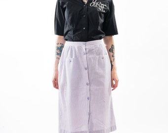Vintage 80's Bobbie Brooks Lavender Striped Midi Skirt / Purple with Pockets / Button Up / A-Line / Women's Size Small