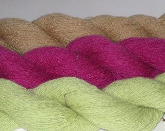 Pure cashmere yarn, upcycled yarn, cashmere lace yarn, knitting/crochet yarn, lime green, beige, raspberry, burgundy, gray