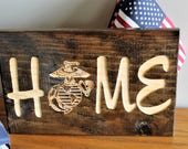 Home Sign, Carved Wood Sign, Engraved Sign, Military Home Decor, USMC Decor, Wood Home Sign, Marine Corps Gifts, Marine Sign with EGA