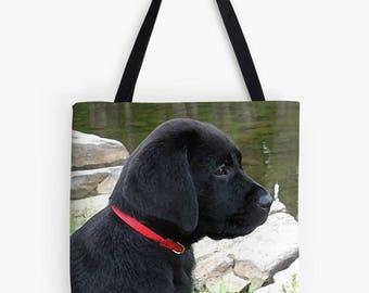 Black Lab 20BLP Tote Bag -  Labrador Tote - Black Lab Gifts - Dog Tote Bag - Grocery Bag - Grocery Tote Bag - Beach Bag - Black Lab Art