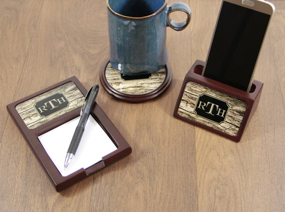 Christmas Gifts for Him Wood Mahogany Desk Accessories Set Sticky Note Holder + Coaster & Business Card Holder or Phone Stand Gifts for Men