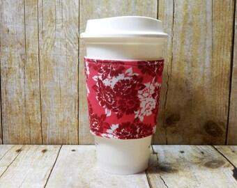 Fabric Coffee Cozy / Flowers on Pink Coffee Cozy / Coffee Cozy / Tea Cozy