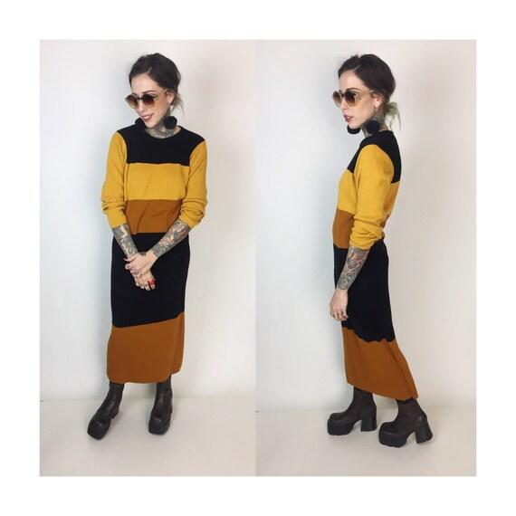 80's Acrylic Knit Sweater Dress Medium - Color Block Maxi Sweater Dress Earth Tones Striped Ribbed Sweater Long Sleeve Brown Yellow Orange